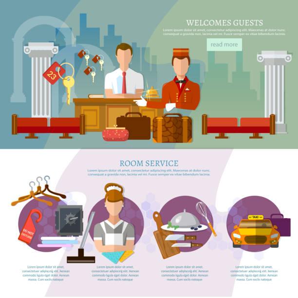 Hotel service infographics hotel staff vector art illustration