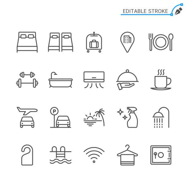 호텔 서비스 라인 아이콘입니다. 편집 가능한 스트로크입니다. 픽셀 완벽. - 호텔 stock illustrations