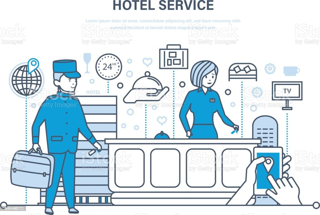 Hotel service. People working in hotel, reception. Vacation, tourism vector art illustration