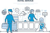 Hotel service. People working in hotel, reception. Vacation, tourism