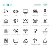 Hotel Service - 20 Outline Style - Single line icons with captions / Set #19 / Designed in 48x48pх square, outline stroke 2px.\n\nFirst row of outline icons contains:\nSafety, Gym, TV, Double Bed, Towel;\n\nSecond row contains:\nRoom Service, Hair Dryer, Reception, Restaurant, Swimming Pool;\n\nThird row contains:\nDo Not Disturb, 24 Hrs Check in, Wireless, Bar, Bath;\n\nFourth row contains:\nLaundry, Safe, Spa, Conference Hall, Coffee.\n\nComplete Signico collection - https://www.istockphoto.com/collaboration/boards/VT_7sDWo80OLh7foVxchBQ
