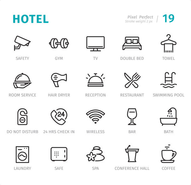 Hotel Service - Pixel Perfect line icons with captions Hotel Service - 20 Outline Style - Single line icons with captions / Set #19 / Designed in 48x48pх square, outline stroke 2px.  First row of outline icons contains: Safety, Gym, TV, Double Bed, Towel;  Second row contains: Room Service, Hair Dryer, Reception, Restaurant, Swimming Pool;  Third row contains: Do Not Disturb, 24 Hrs Check in, Wireless, Bar, Bath;  Fourth row contains: Laundry, Safe, Spa, Conference Hall, Coffee.  Complete Signico collection - https://www.istockphoto.com/collaboration/boards/VT_7sDWo80OLh7foVxchBQ hotel stock illustrations
