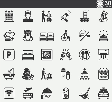 Hotel , Service , Room ,Bed Silhouette Icons
