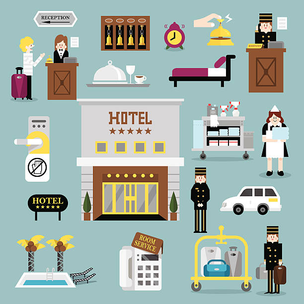 hotel service ein - rezeptionseingang stock-grafiken, -clipart, -cartoons und -symbole