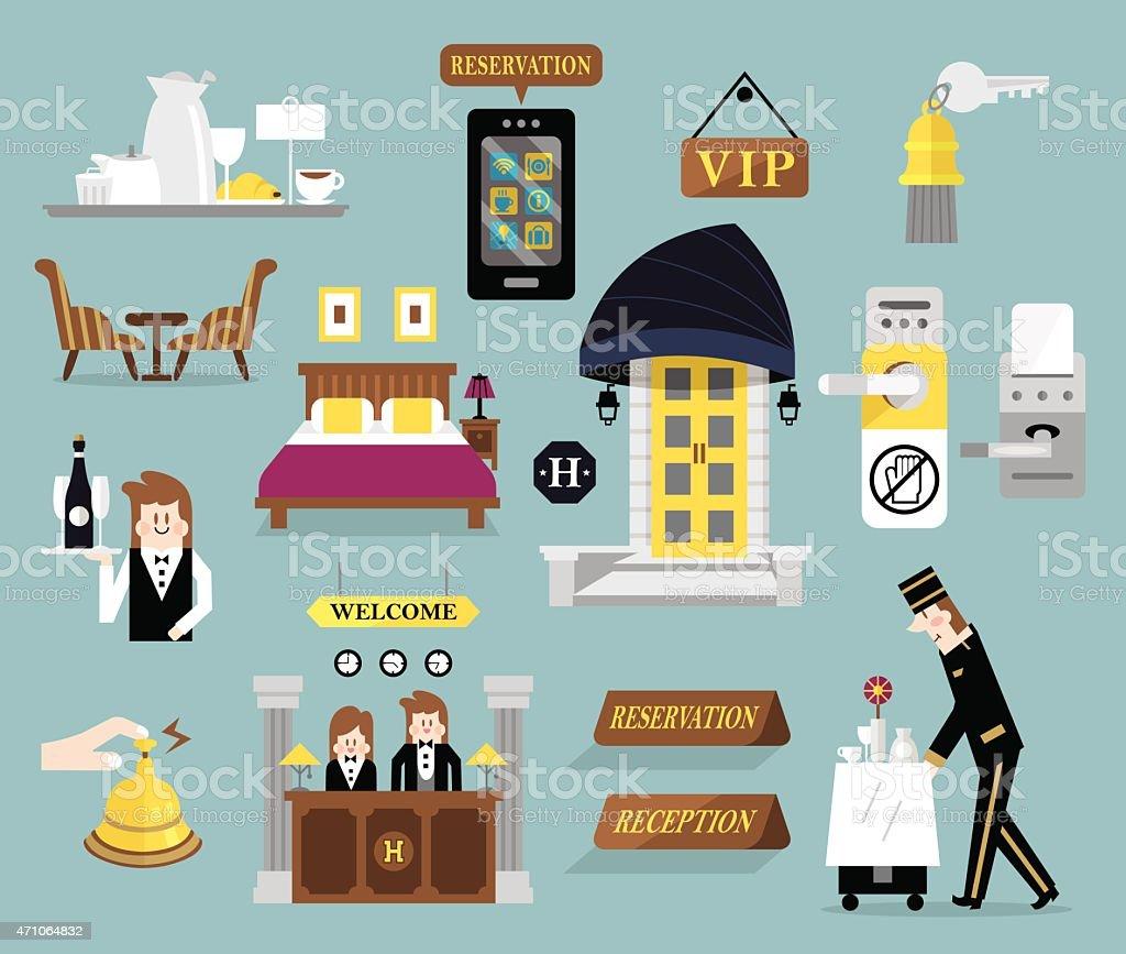 Hotel service set B vector art illustration
