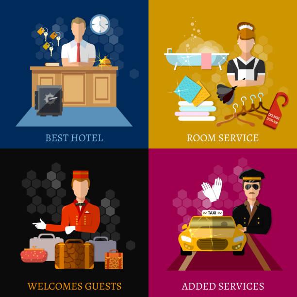 hotel service set, hotel rezeption reservierung morgen anruf reinigungspersonal vektor-illustration - rezeptionseingang stock-grafiken, -clipart, -cartoons und -symbole