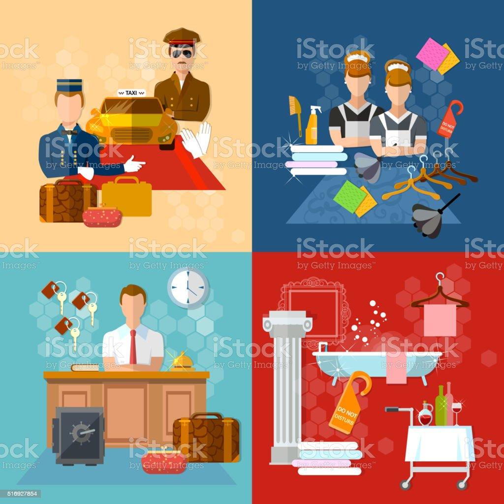 Hotel service set vector illustration vector art illustration