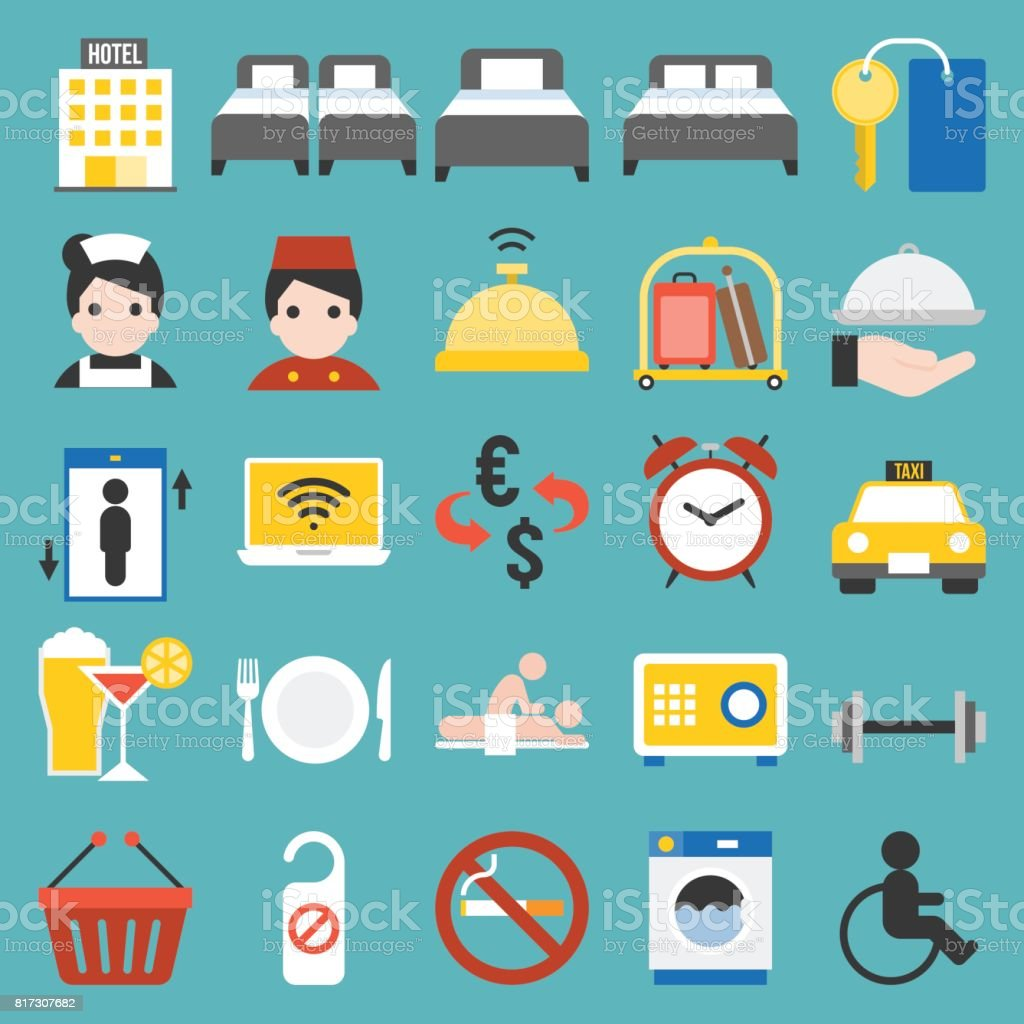 Hotel service sign and icon set vector art illustration