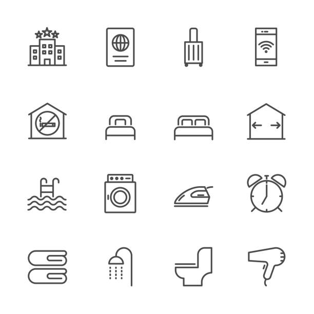 Hotel service, Simple thin line hotel icons set, Vector icon design Hotel service, Simple thin line hotel icons set, Vector icon design hotel stock illustrations