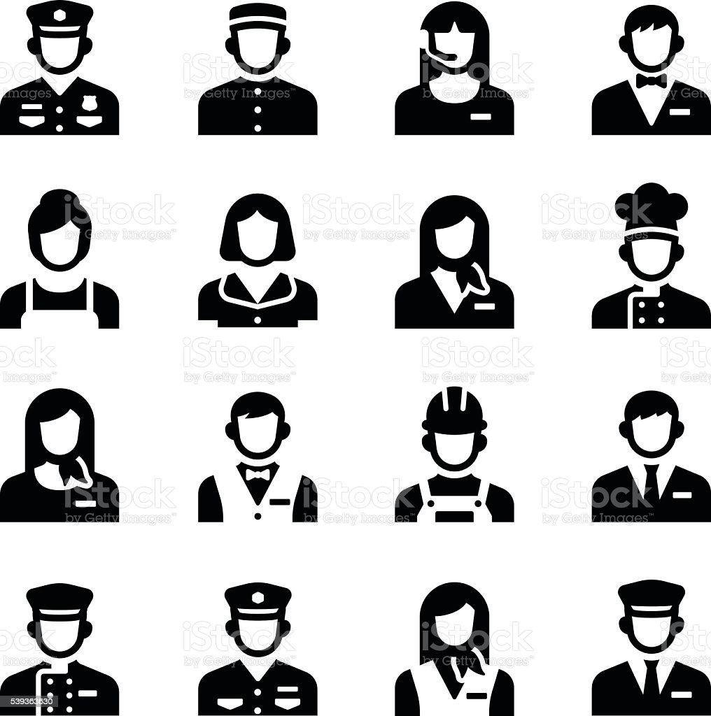 Personal de servicio conjunto de iconos de Vector ocupación Avatar - ilustración de arte vectorial