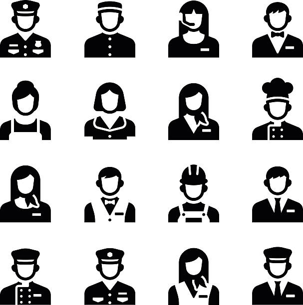 Service personnel de l'Occupation Avatar de vecteur groupe d'icônes - Illustration vectorielle