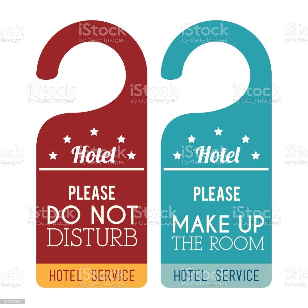 hotel service tags hanging vector art illustration