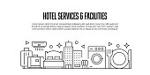 istock Hotel Services and Facilities Related Modern Line Style Banner Design 1341895997