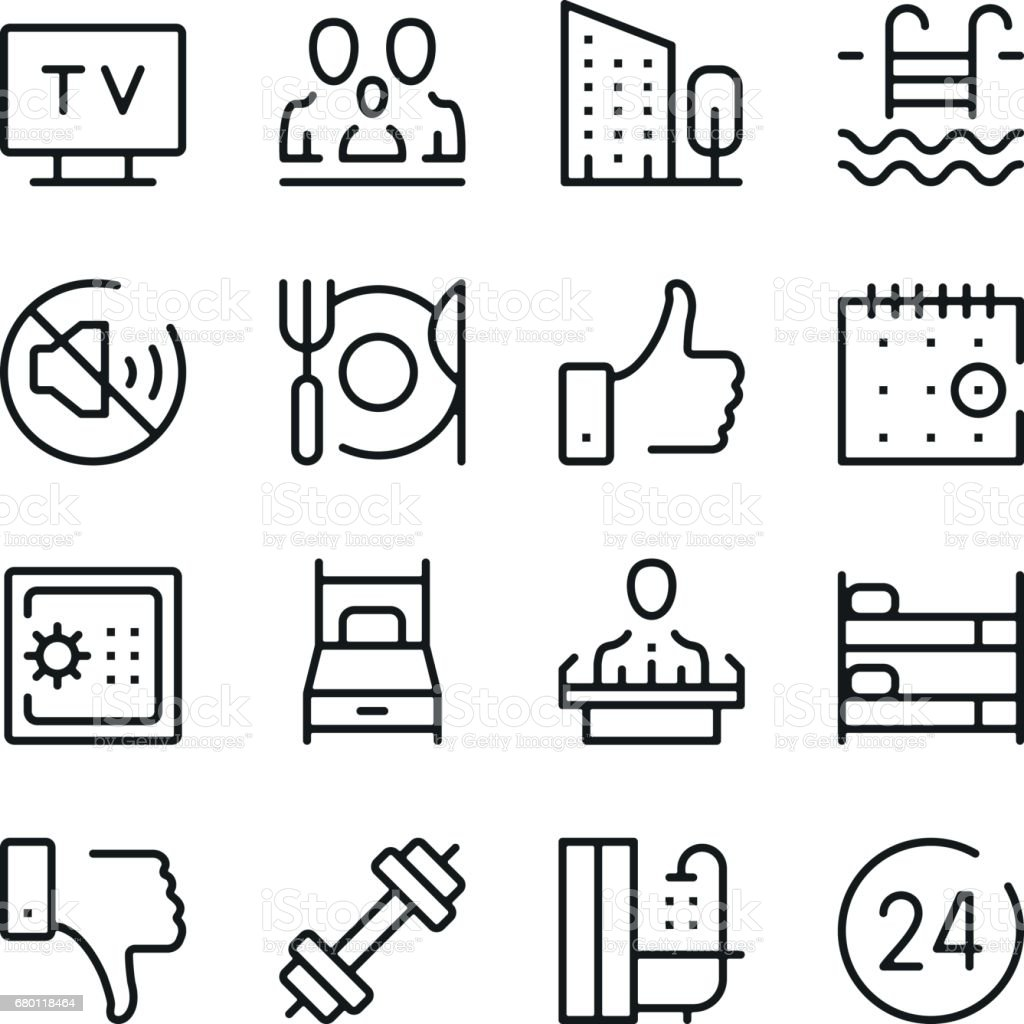 Hotel services and hotel amenities line icons set. Modern graphic design concepts, simple outline elements collection. Vector line icons vector art illustration