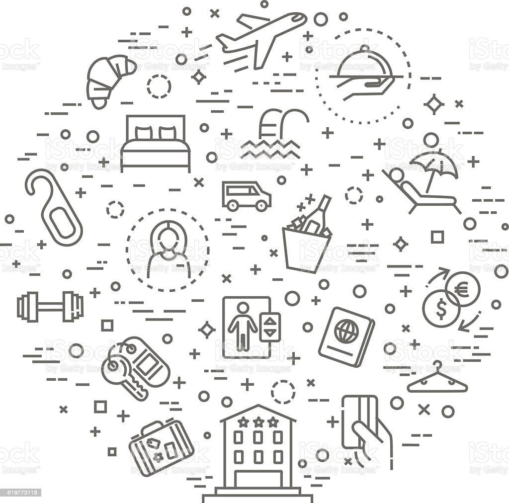 Hotel services concept illustration, thin line flat design vector art illustration