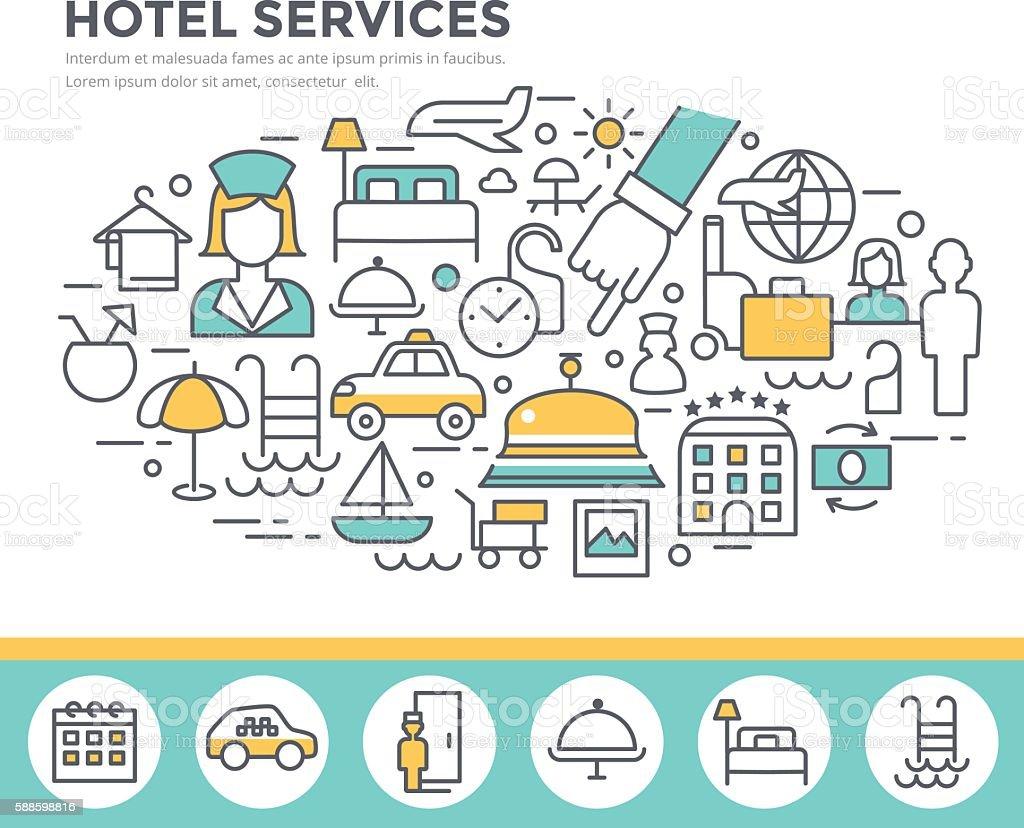 Hotel services concept illustration. vector art illustration