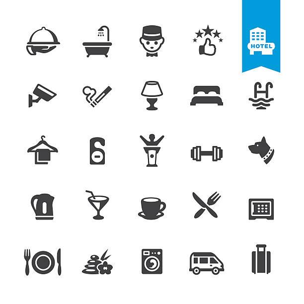Hotel Dienstleistungen Einrichtungen Vektor Symbole & – Vektorgrafik