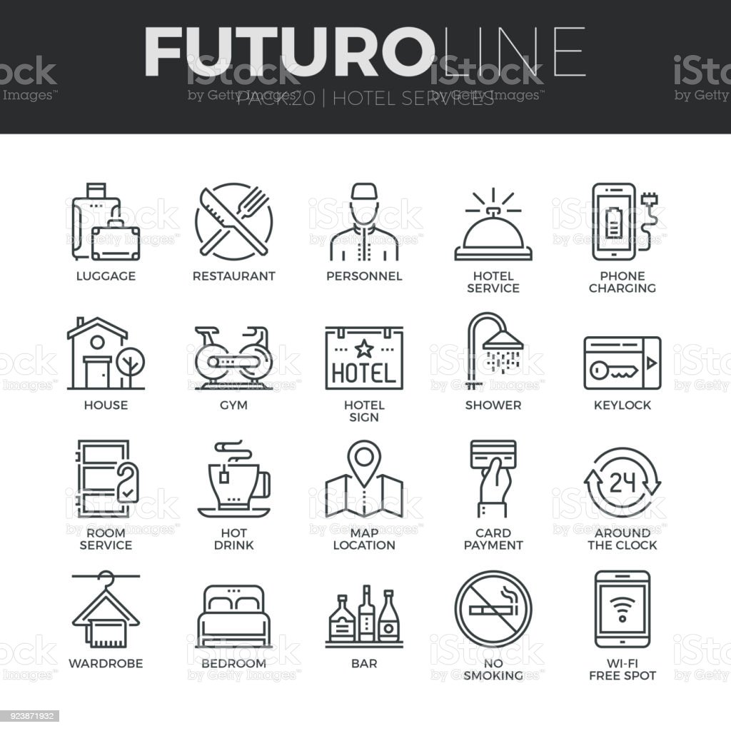 Hotel Services Futuro Line Icons Set vector art illustration