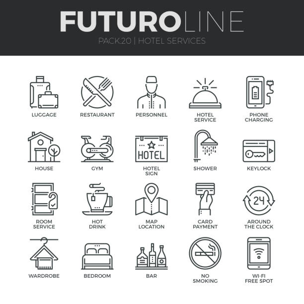 Hotel Services Futuro Line Icons Set Modern thin line icons set of hotel service amenities, rent house facilities. Premium quality outline symbol collection. Simple mono linear pictogram pack. Stroke vector symbol concept for web graphics. hotel stock illustrations
