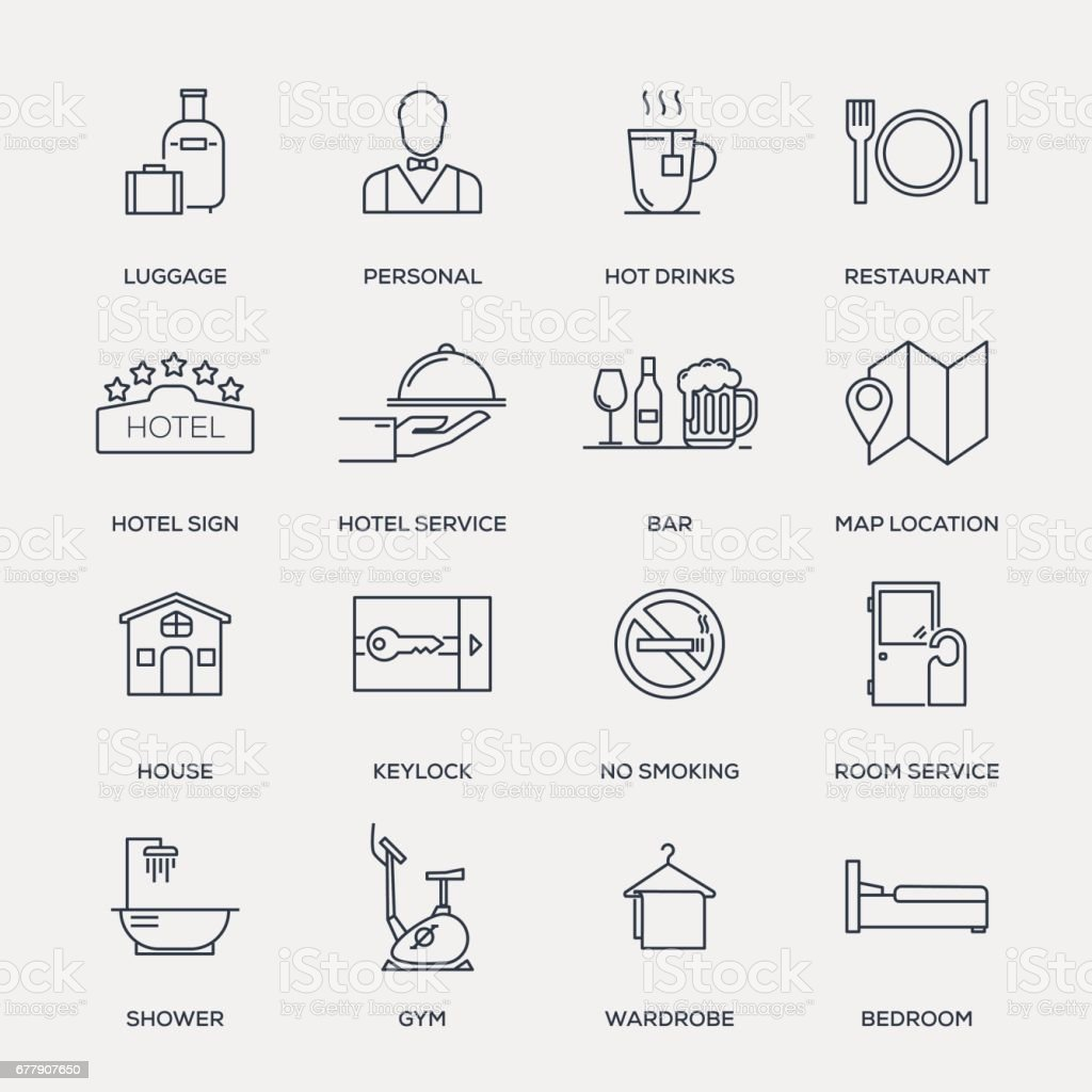 Hotel Services Icon Set - Line Series royalty-free hotel services icon set line series stock vector art & more images of bar - drink establishment