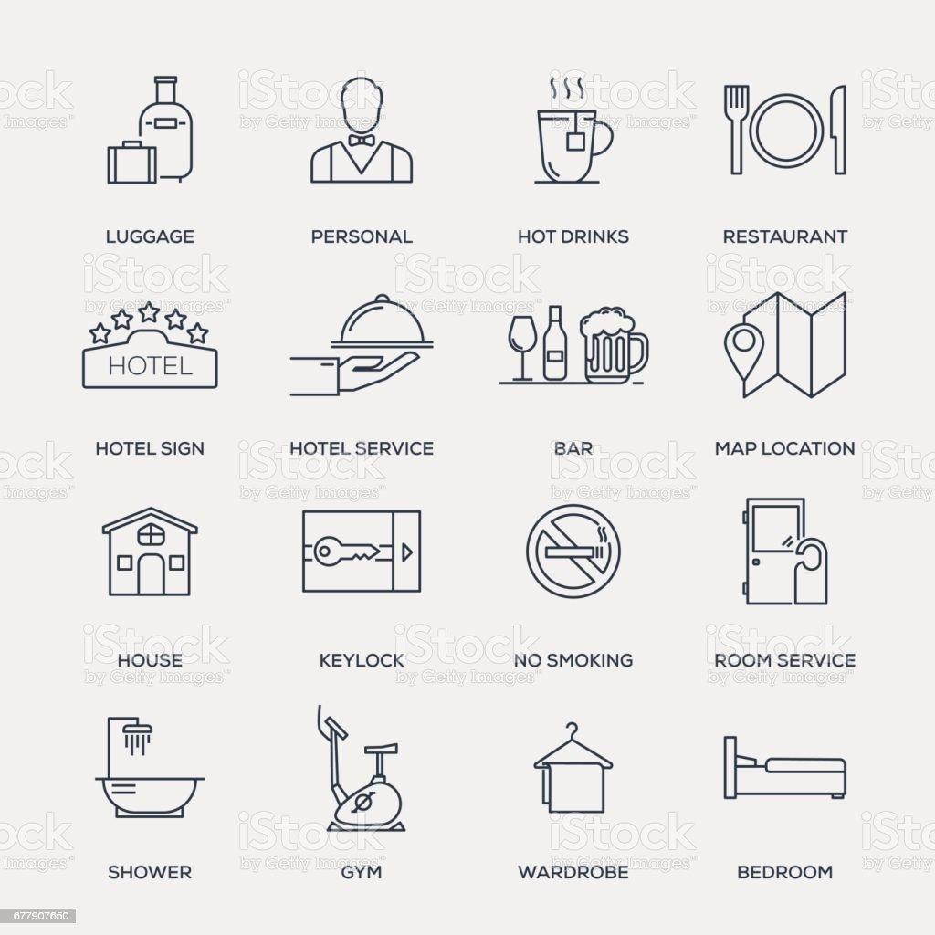 ホテルのサービスのアイコンを設定 - ライン シリーズ ベクターアートイラスト