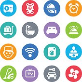 Set of Hotel services simple vector icons placed on colorful circles. Easy resize. There are icons: Bed, Bathroom, Alarm Clock, Safe, Car Rental, Luggage Cart, Bellboy, Hotel Reception, Vacuum Cleaner, Air Conditioner, Service Bell, TV, Wireless Technology, Clothes Washer, Restaurant.