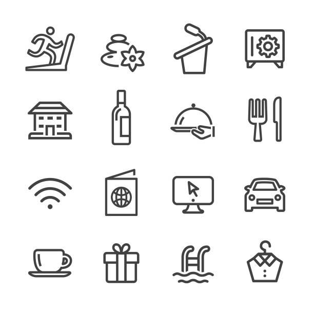 illustrazioni stock, clip art, cartoni animati e icone di tendenza di hotel services icons - line series - souvenir