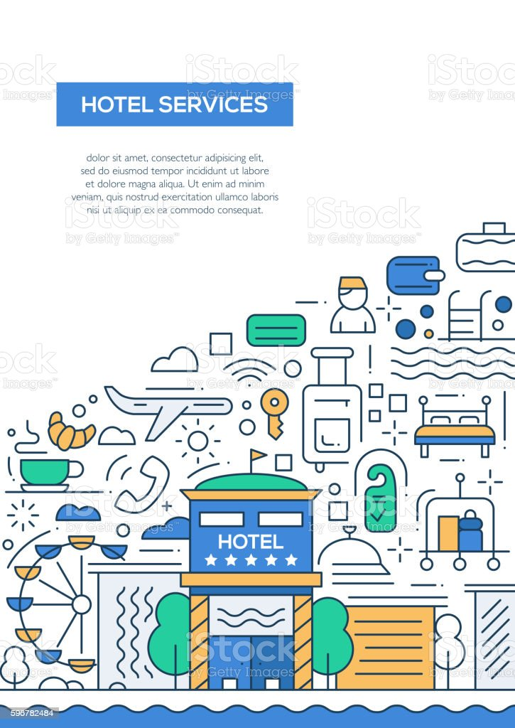 hotel services line design brochure poster template a4 のイラスト