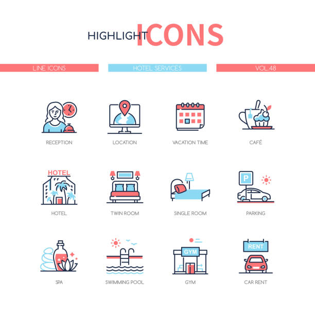 Hotel services - line design style icons set vector art illustration