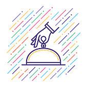 Line vector illustration of restaurant services.