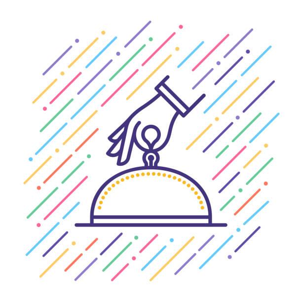 hotelleistungen liniensymbol - gastronomiebetrieb stock-grafiken, -clipart, -cartoons und -symbole