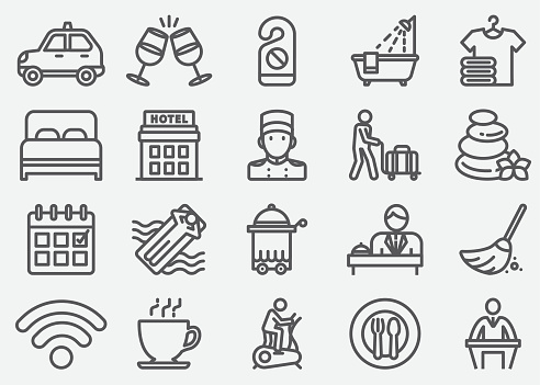 Hotel Services Line Icons