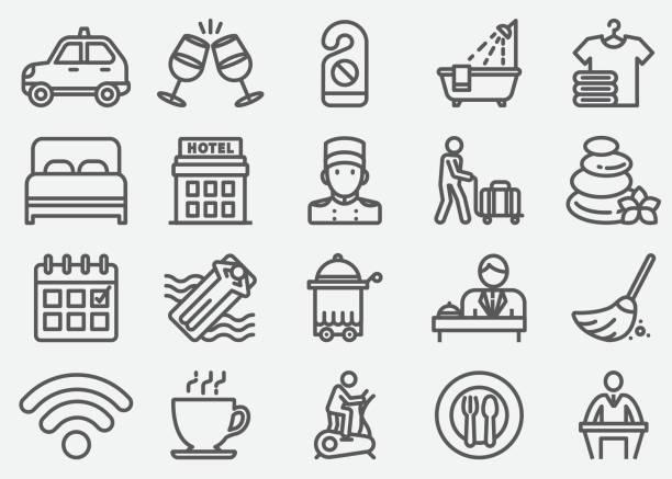 ikony linii usług hotelowych - hotel stock illustrations
