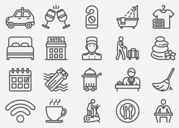 hotel services line icons - bed stock illustrations