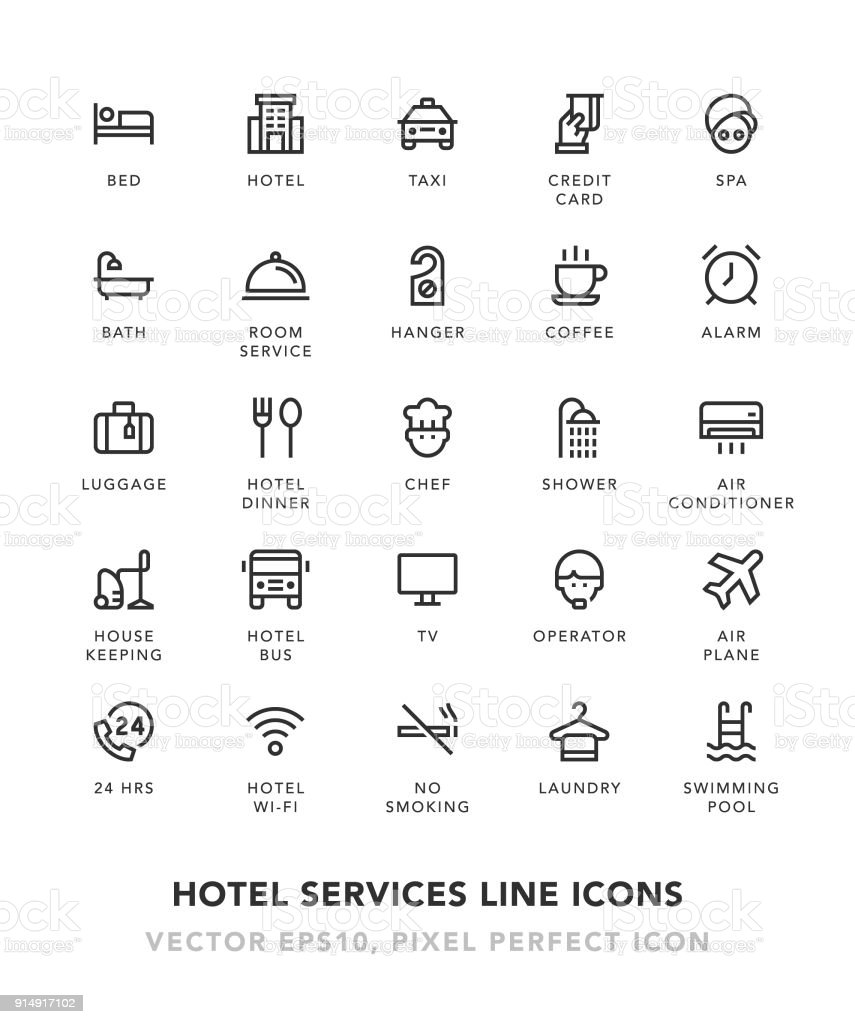 Hotel Services Line Icons vector art illustration
