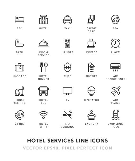 Hotel Services Line Icons Hotel Services Line Icons Vector EPS 10 File, Pixel Perfect Icons. hotel stock illustrations