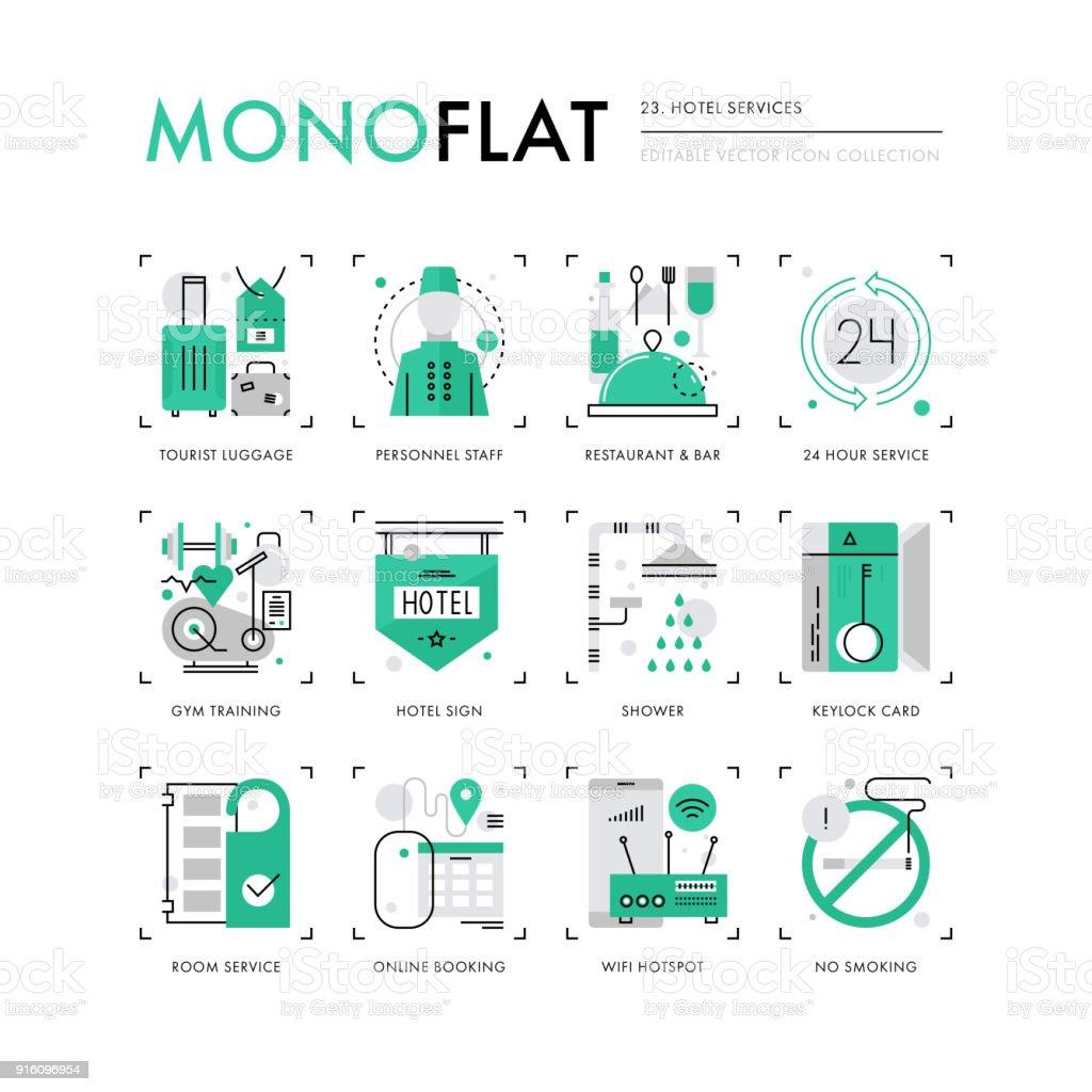 Serviços do Hotel Monoflat ícones - ilustração de arte em vetor