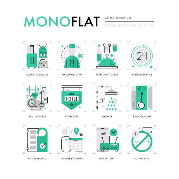 hotel services monoflat icons - save the date calendar stock illustrations, clip art, cartoons, & icons