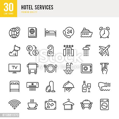 Hotel Services set of thin line vector icons.
