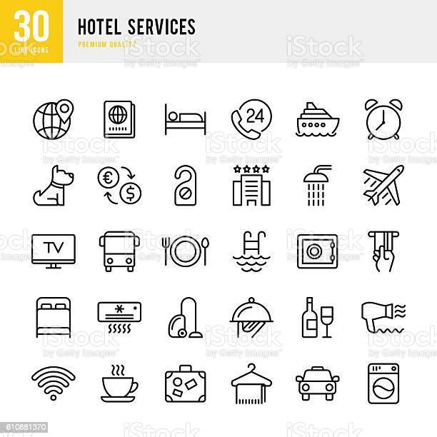 Hotel services set of thin line vector icons vector id610881370?b=1&k=6&m=610881370&s=612x612&h=pm0fdmmbhzl8otqiydyh3osu7fomnb 6ybb rww1gew=