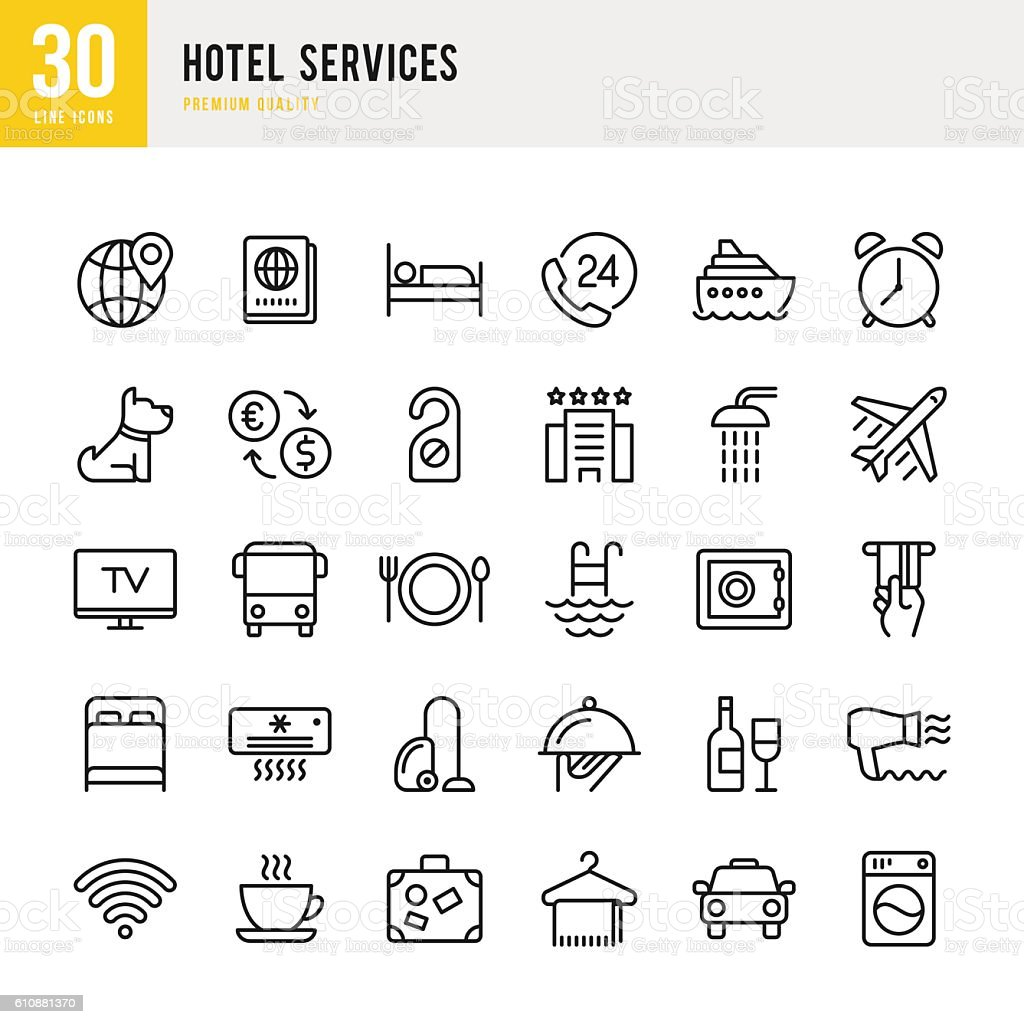 Hotel Services  - set of thin line vector icons - ilustración de arte vectorial