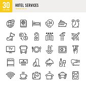 Hotel Services  - set of thin line vector icons