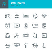 Set of Hotel Services thin line vector icons.