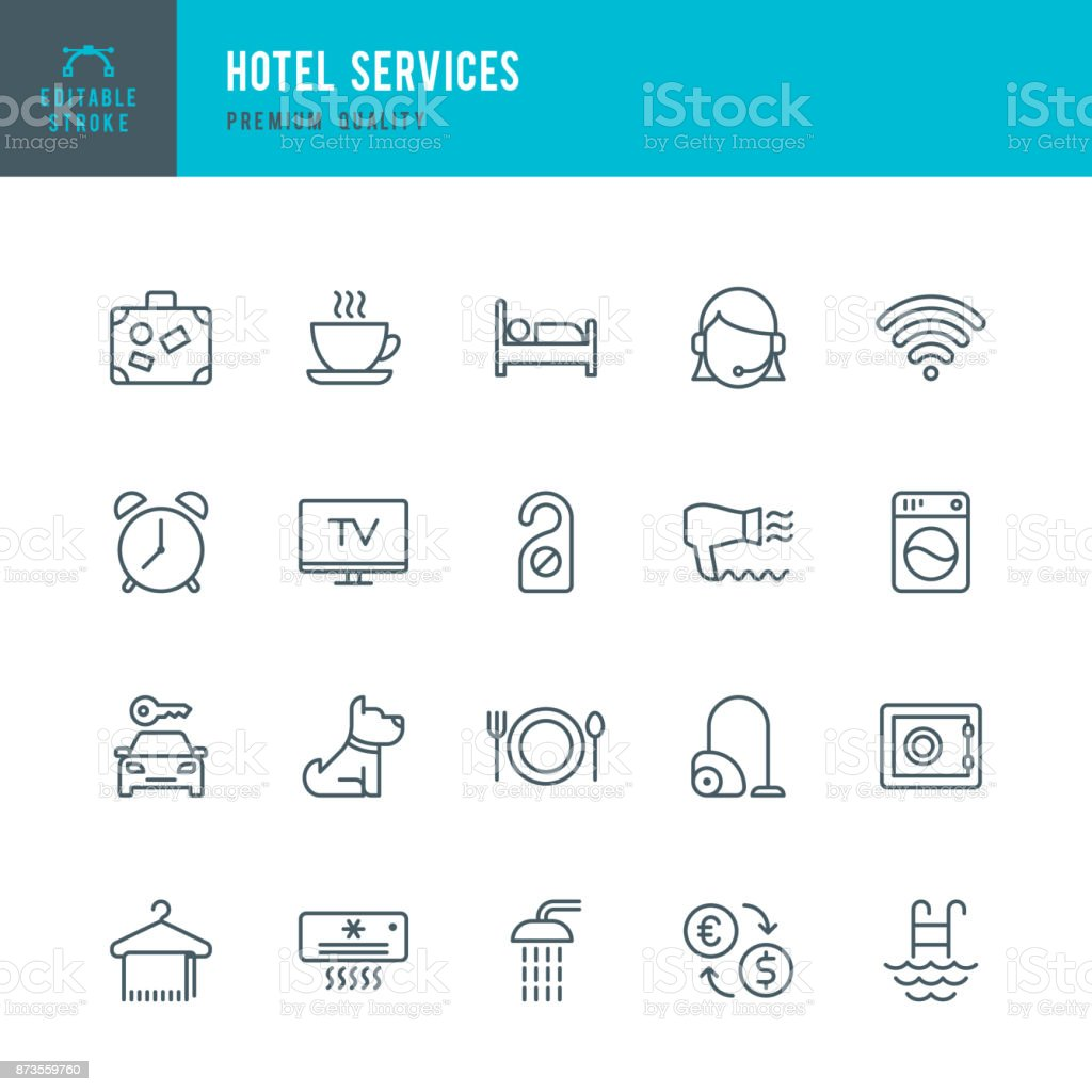 Hotel Services - set of thin line vector icons vector art illustration