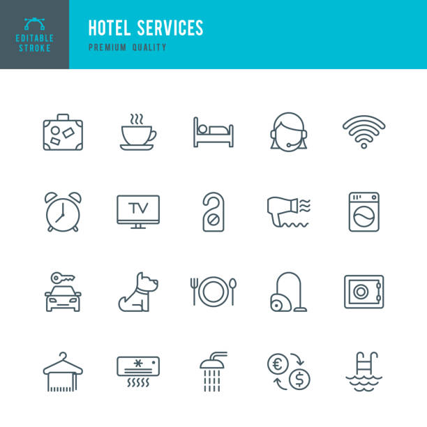 Hotel Services - set of thin line vector icons Set of Hotel Services thin line vector icons. hotel stock illustrations