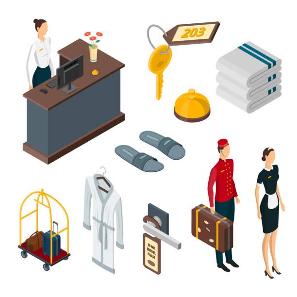 illustrazioni stock, clip art, cartoni animati e icone di tendenza di hotel services vector 3d isometric icons, design elements set. staff, shower accessories, luggage, room privacy elements - hotel checkin