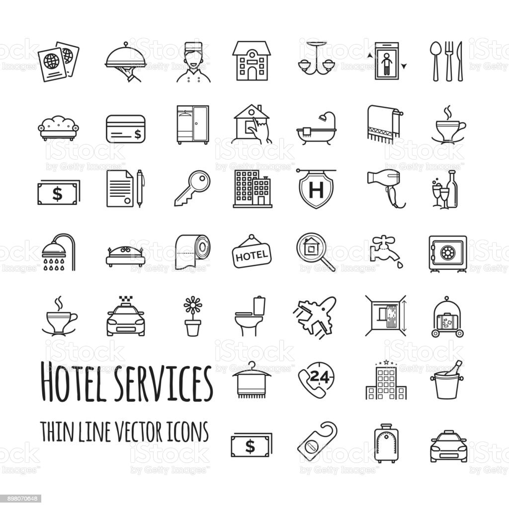 Hotel services vector icons set vector art illustration