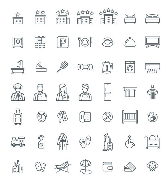 Hotel services vector outline icons set Hotel services vector outline icons set. Simple linear pictograms. Isolated on white. Thin line symbols for choosing of apartment. Different services for traveling singles and families with kids hotel stock illustrations