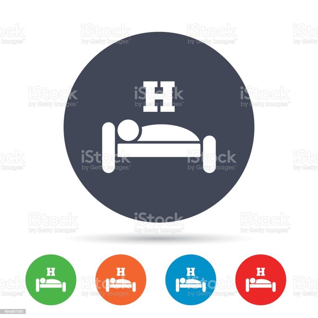 Hotel sign icon. Rest place. Sleeper symbol. vector art illustration