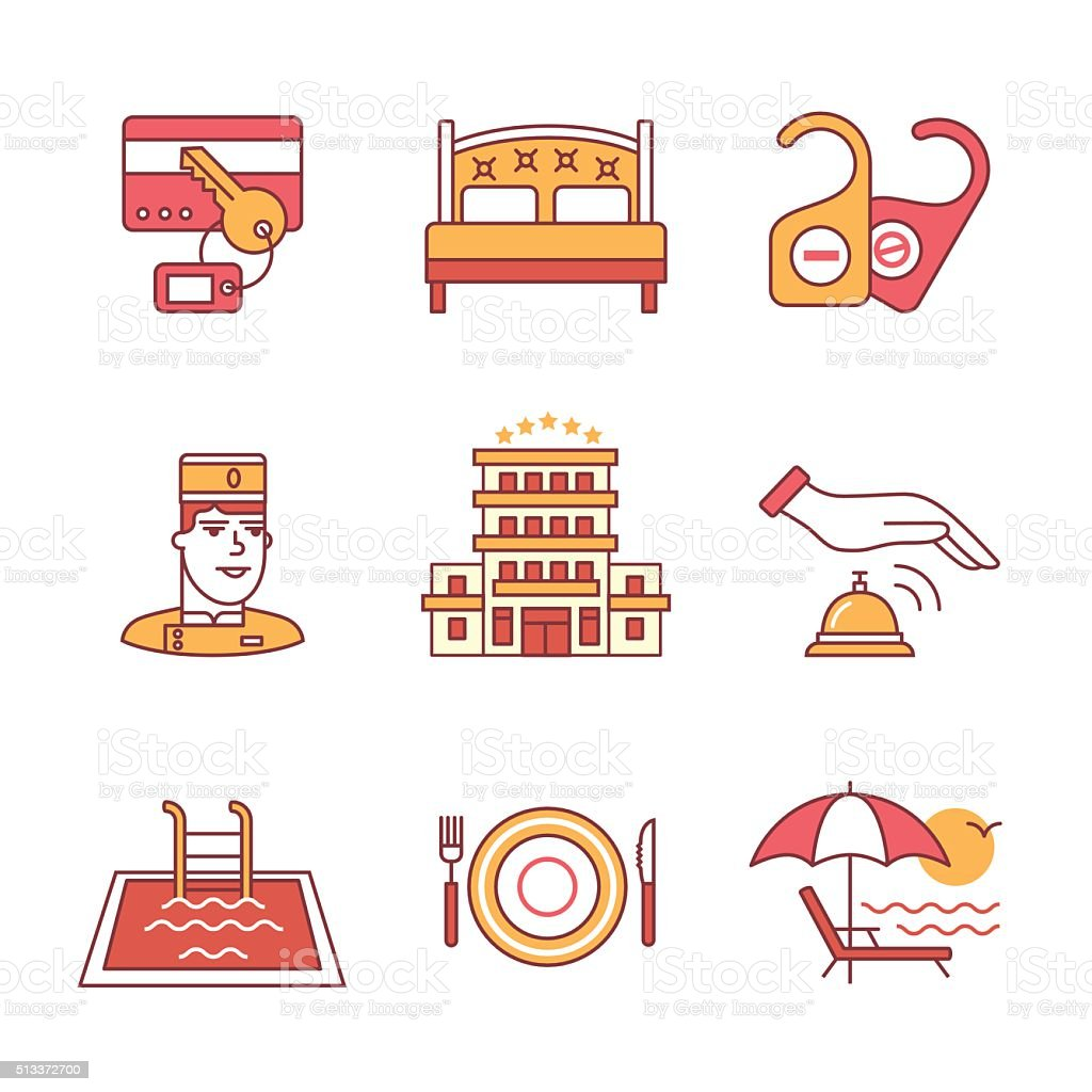 Hotel signs set. Thin line art icons vector art illustration